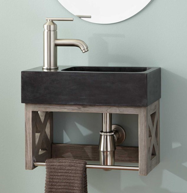 ANSEL TEAK WALL-MOUNT VANITY WITH TOWEL BAR & STONE SINK - GRAY WASH