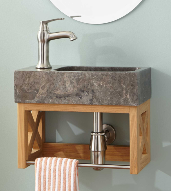 ANSEL TEAK WALL-MOUNT VANITY WITH TOWEL BAR & STONE SINK - NATURAL TEAK