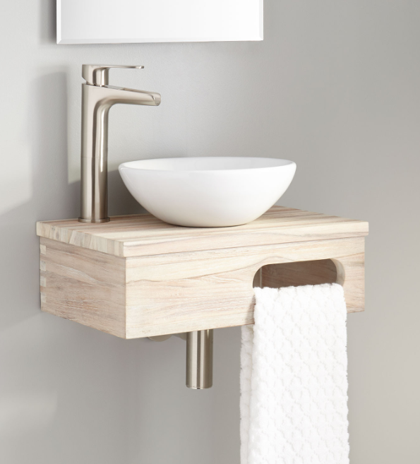 DELL TEAK WALL-MOUNT VESSEL VANITY WITH TOWEL BAR - WHITEWASH