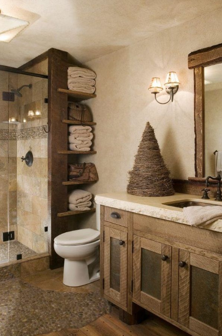 Rustic Bathroom Vanities - Pebbles and Wood Floor