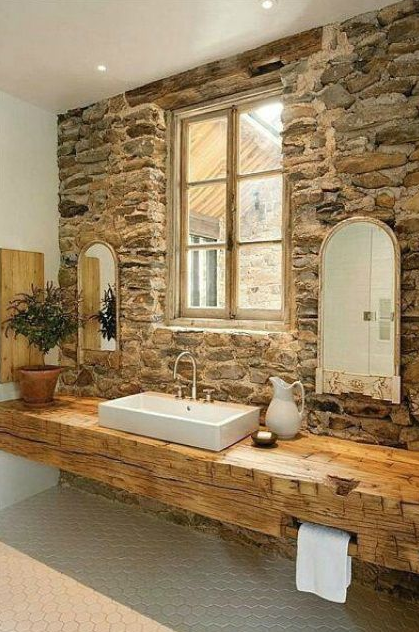 Rustic Bathroom Vanities - Stone Wall