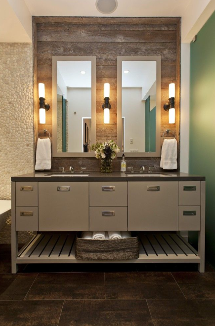 Rustic Bathroom Vanities - Wooden Wall
