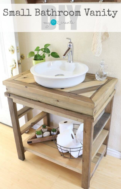 DIY Rustic Wood Bathroom Vanity