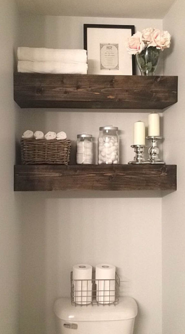 Rustic Wood Beam Bathroom Shelves