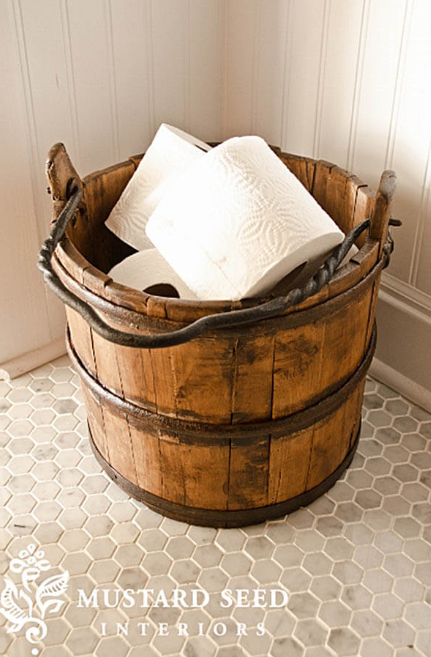 Wood Bucket Toilet Paper Holder