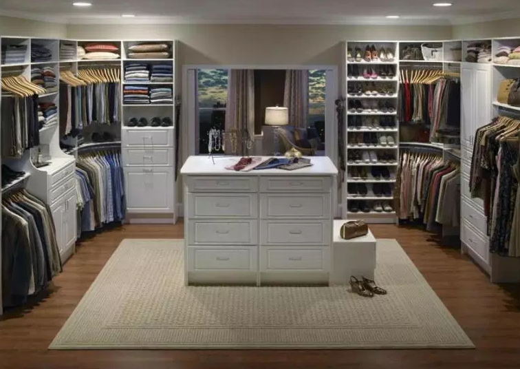 All Wood U-Shaped Walk In Closet - Walk In Closet