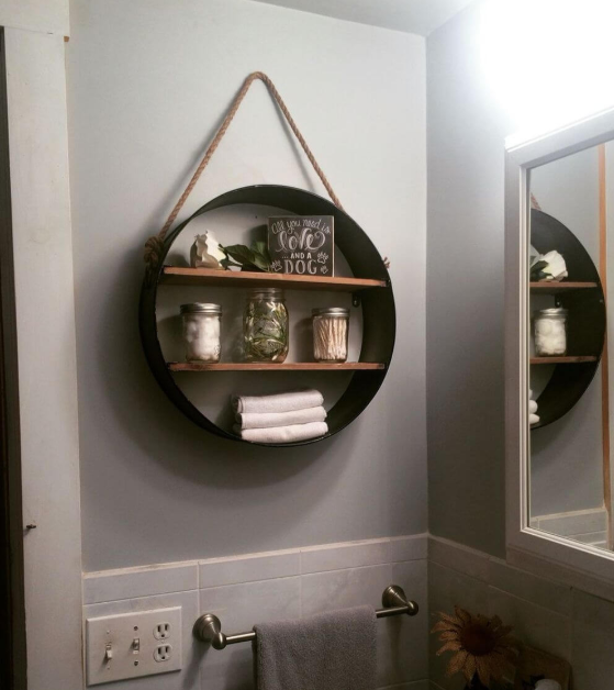 Circle Frame with Shelf Wall Hanging