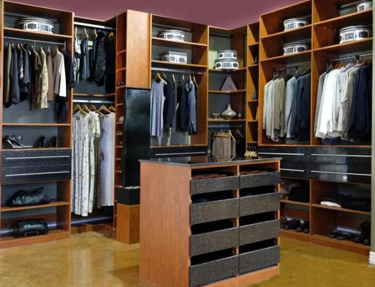 Closet with Island & Pull Down Rods - Walk in Closet Ideas