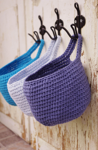 Coat Rack and Crochet Basket - Best Hanging Bathroom Storage Ideas