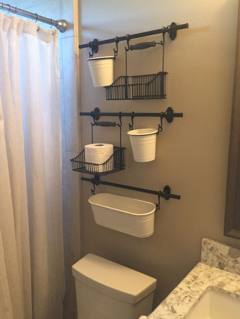 Curtain Rod Basket and Bucket Storage