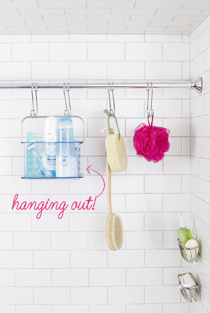Curtain Rod Style Shower Organizing for Small Areas