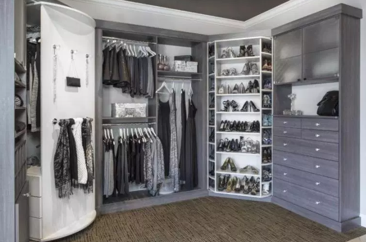 His & Her Closet with Shoe Spinner - Walk in Closet Ideas