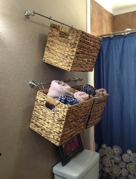 Simple Basket Towel Swinging Organization Idea