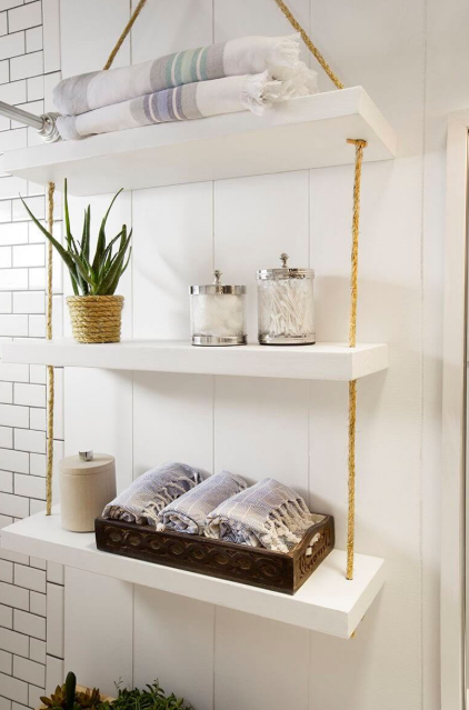 White Floating Shelves with Twine