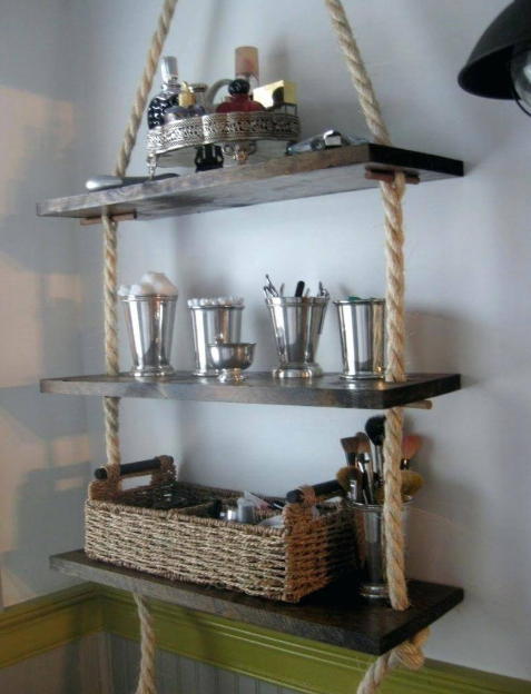 Wood and Rope Floating Shelf Storage