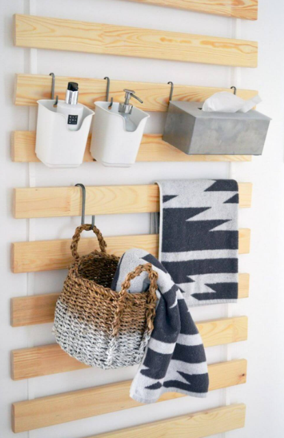 Wooden Planks Customizable Storage for Bathrooms